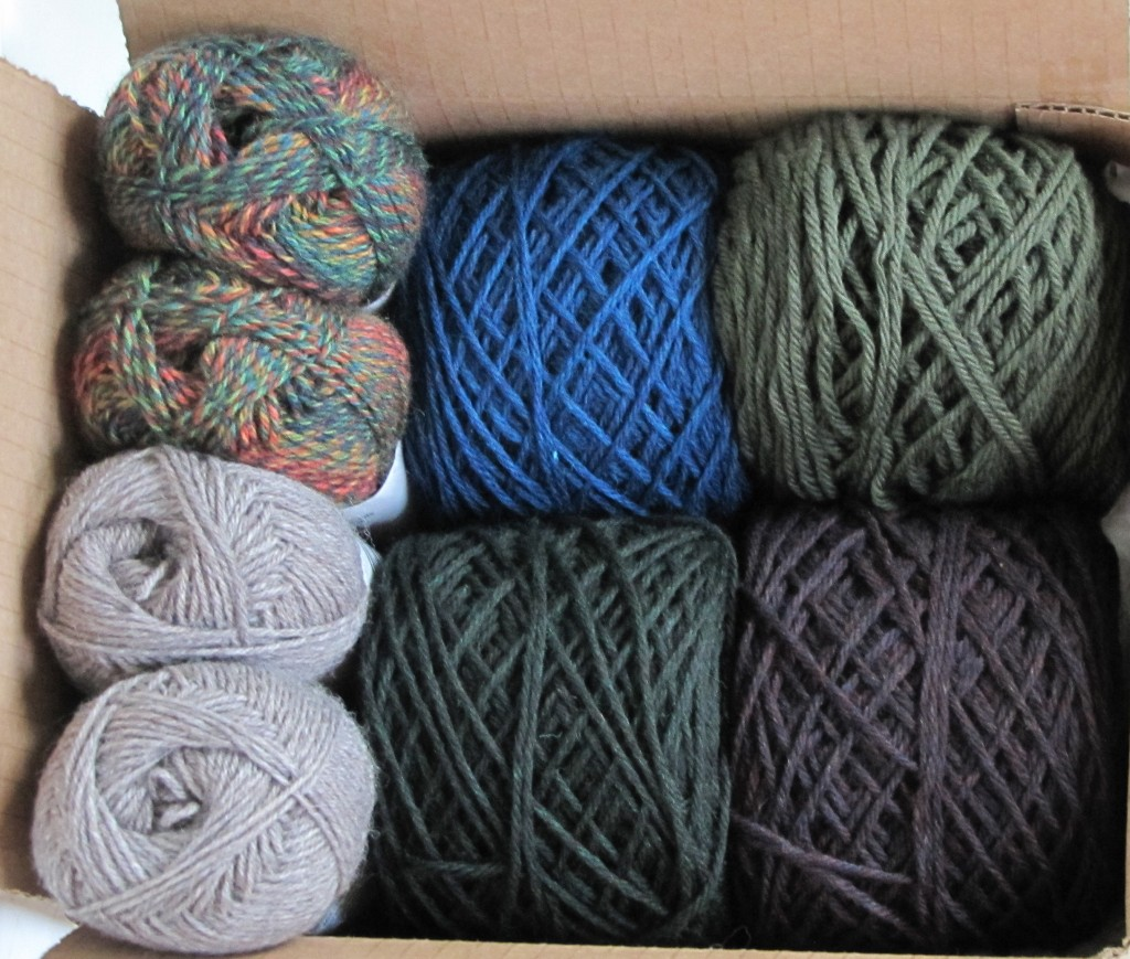 Left: 2 colors of Patons Kroy sock yarns Right: 4 colors of Cascade 220